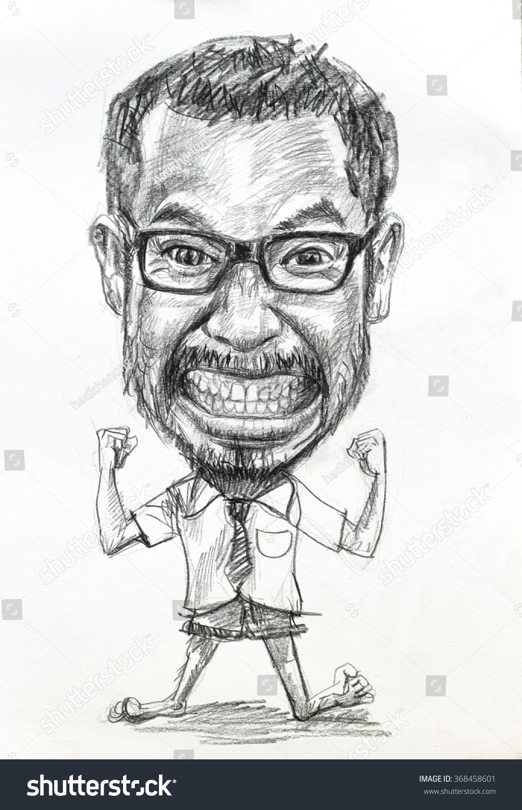 Caricature drawing of manbig head with small body by charcoal pencil on white