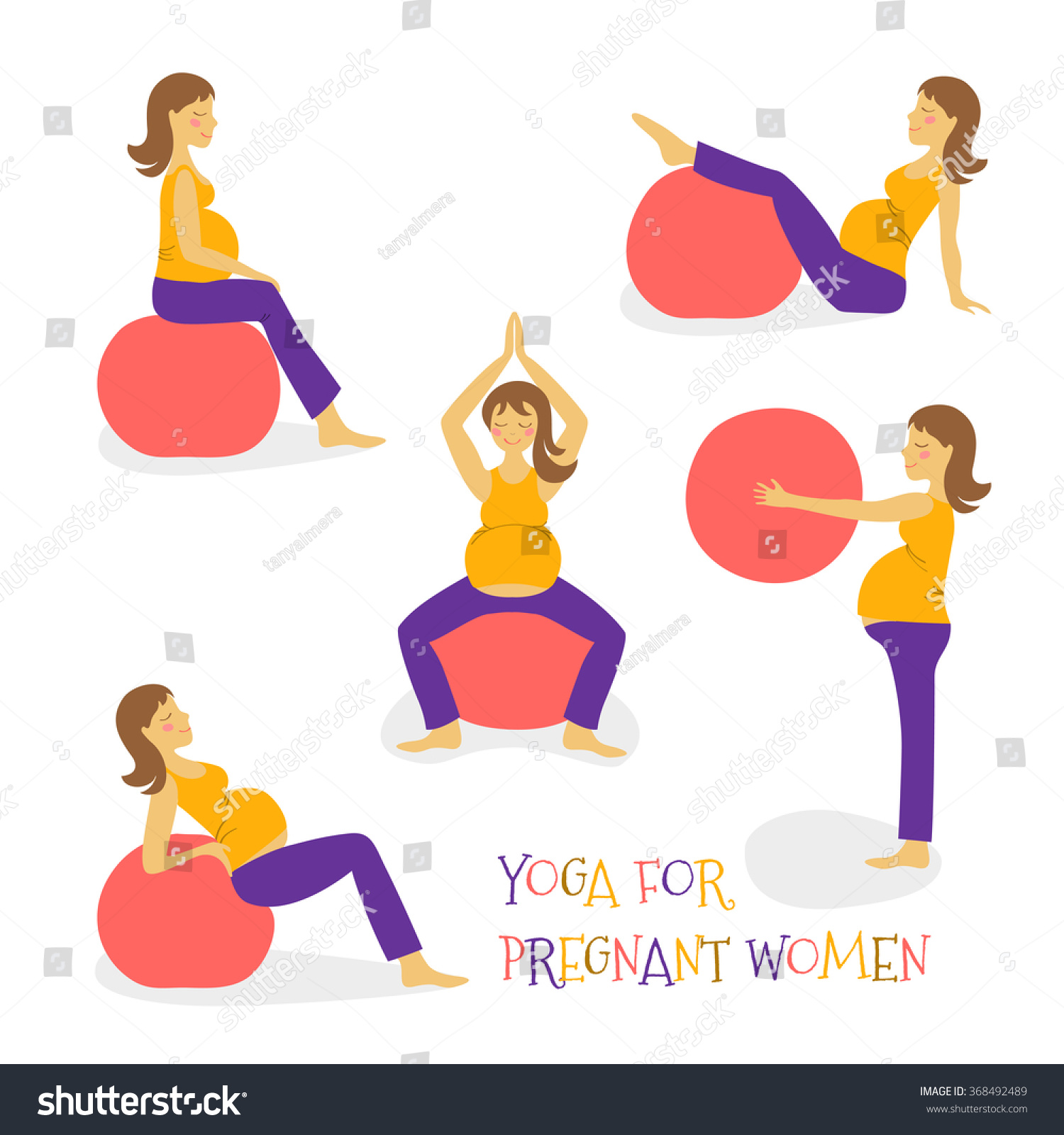 Balance Ball Exercises For Pregnancy: Set Cartoon Hand Icon Fitness Yoga For Pregnant Woman On