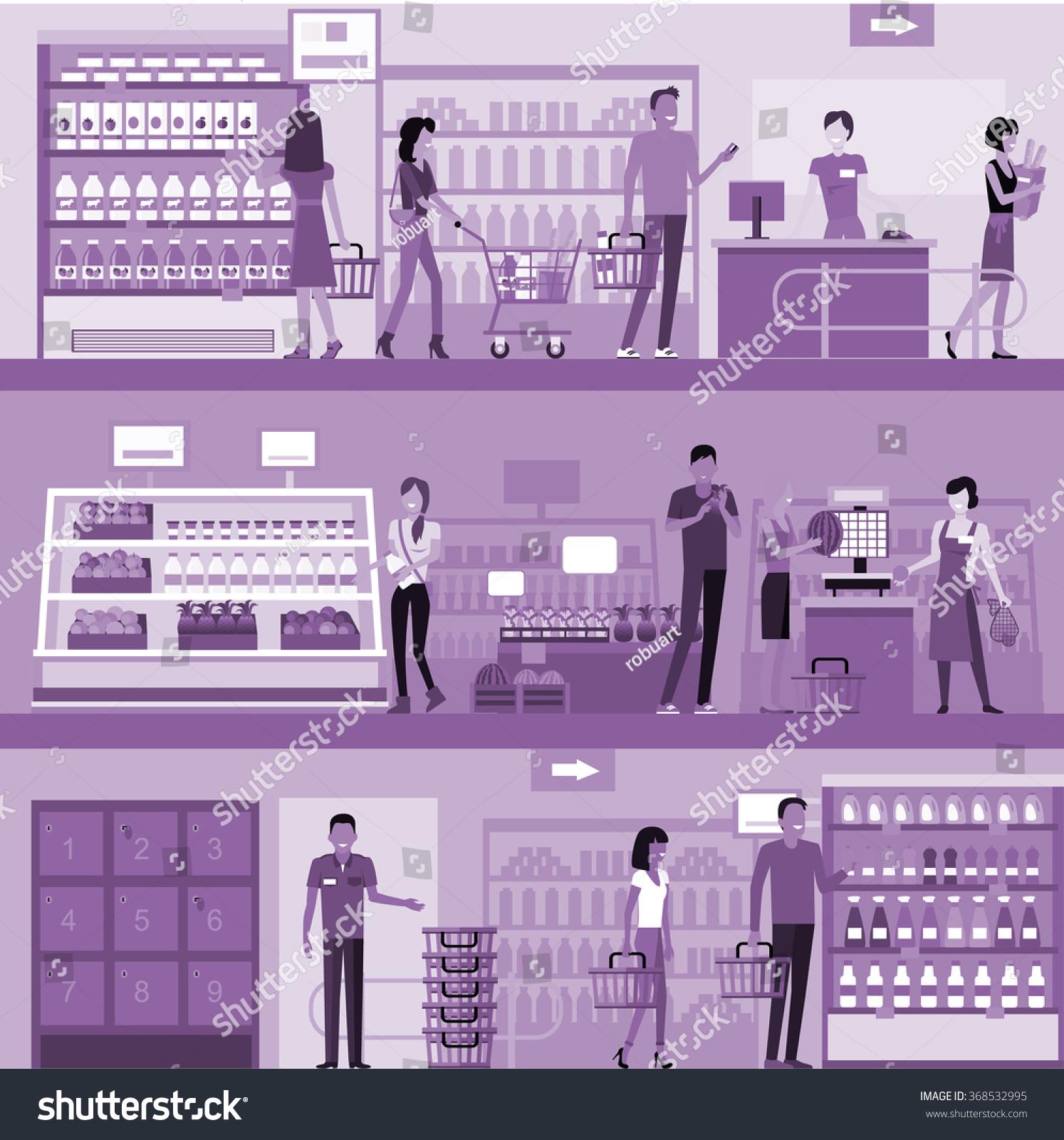 People Supermarket Interior Design People Shopping Stock