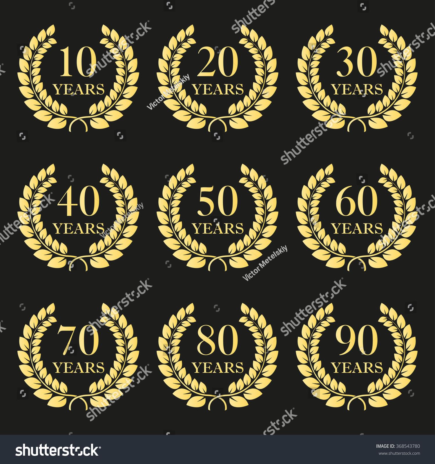 30 Year Anniversary Symbol: Anniversary Laurel Wreath Icon Set Golden Stock