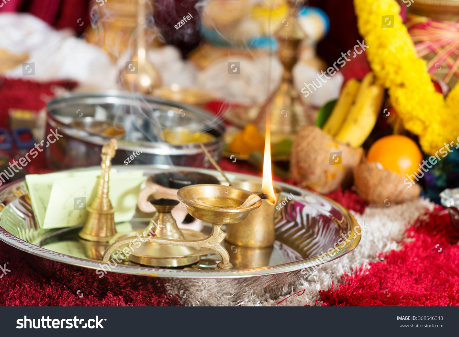 Traditional Indian Hindu Religious Praying Items Stock Photo