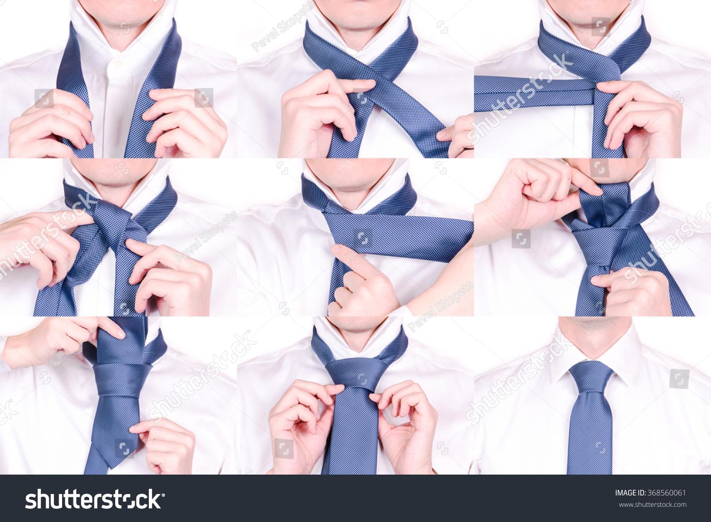 Man Shows How Tie Necktie Half Stock Photo Edit Now 368560061 To The Halfwindsor Knot With Windsor Tutorial