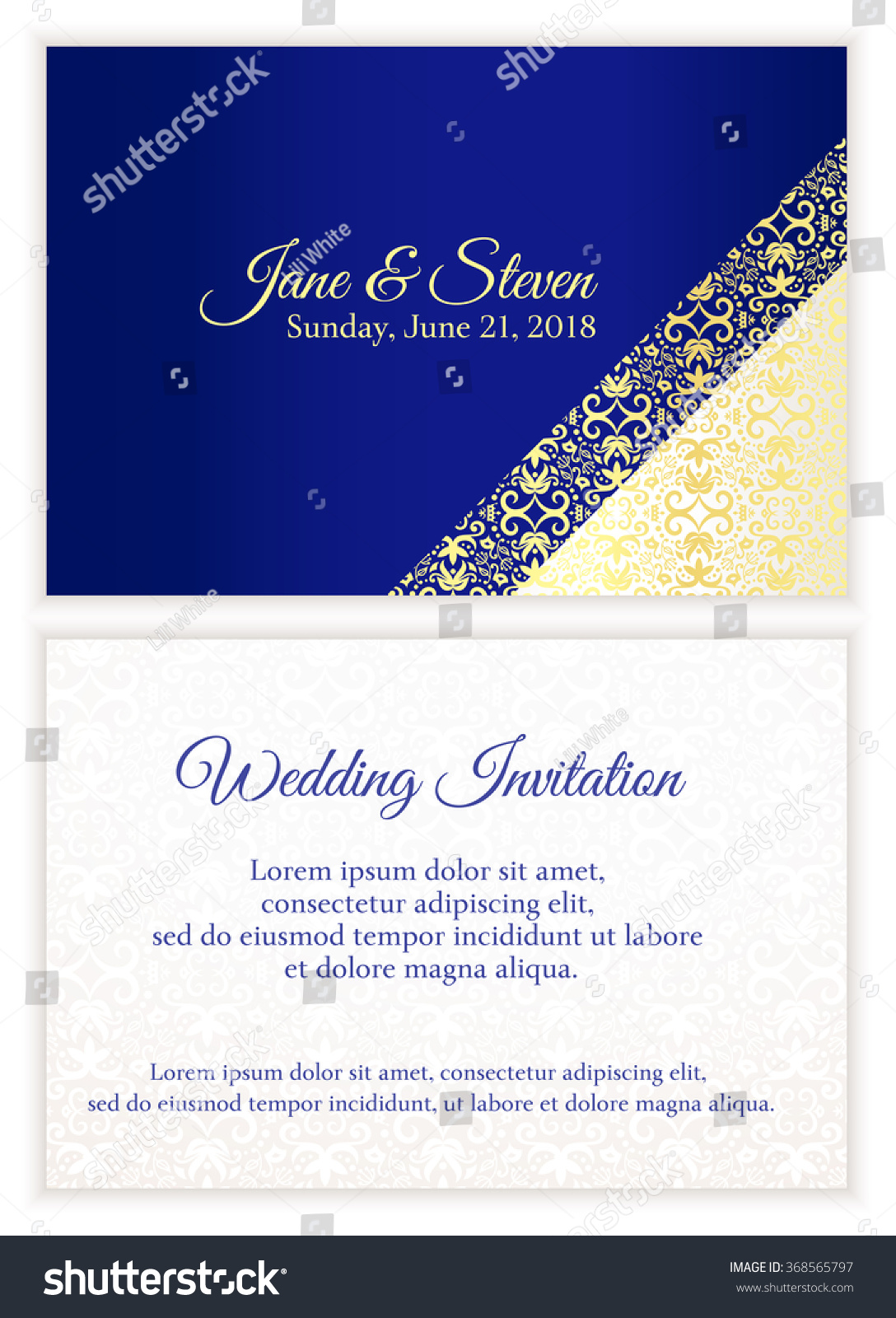 Blue Wedding Invitation With Luxury Golden Lace In Corner And Damask Pattern Inside Of The Card