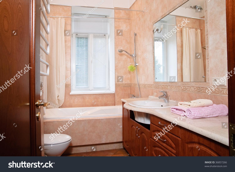 Mirror on wall bathroom stock photo 36857266 shutterstock mirror on a wall of bathroom amipublicfo Gallery
