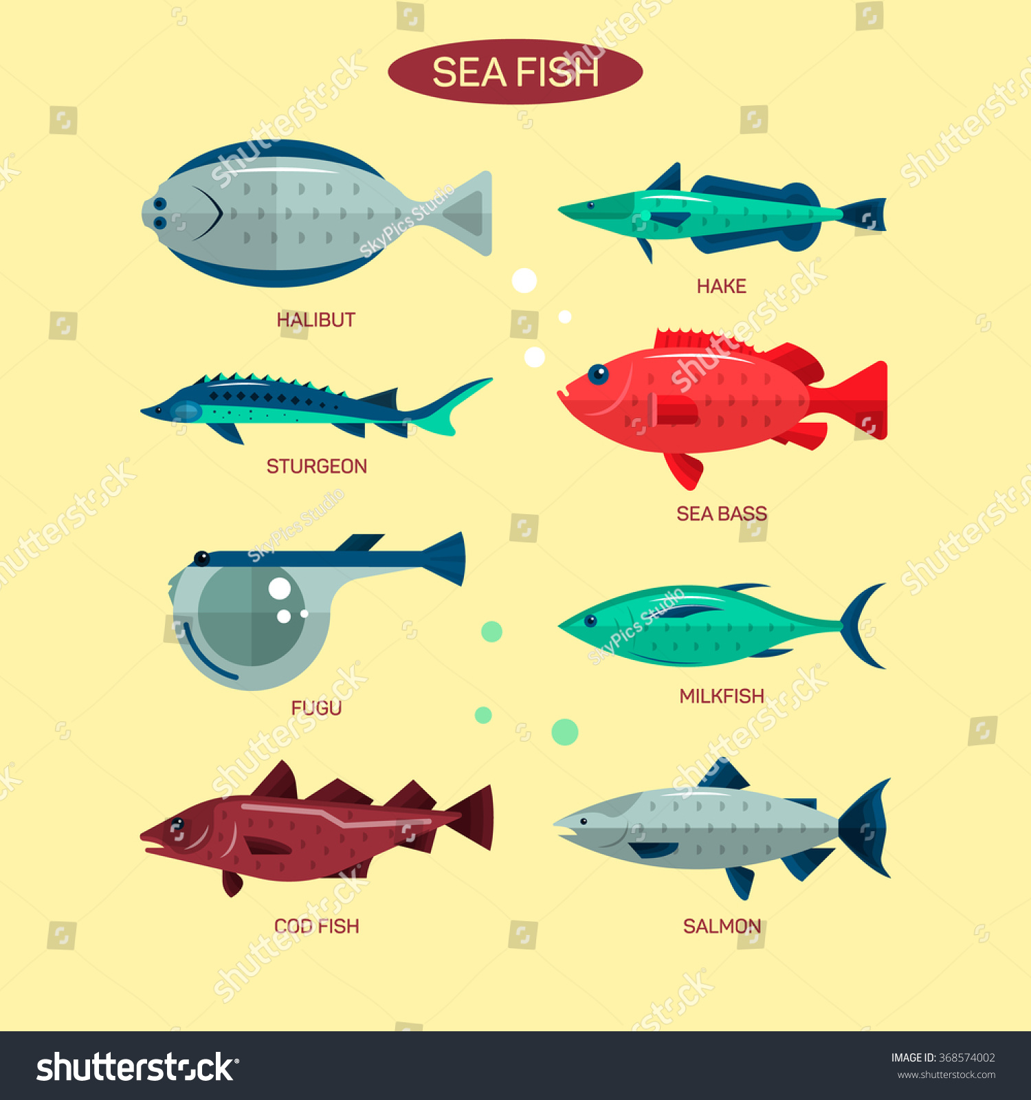 Fish vector set flat style design stock vector 368574002 for White river fish market menu