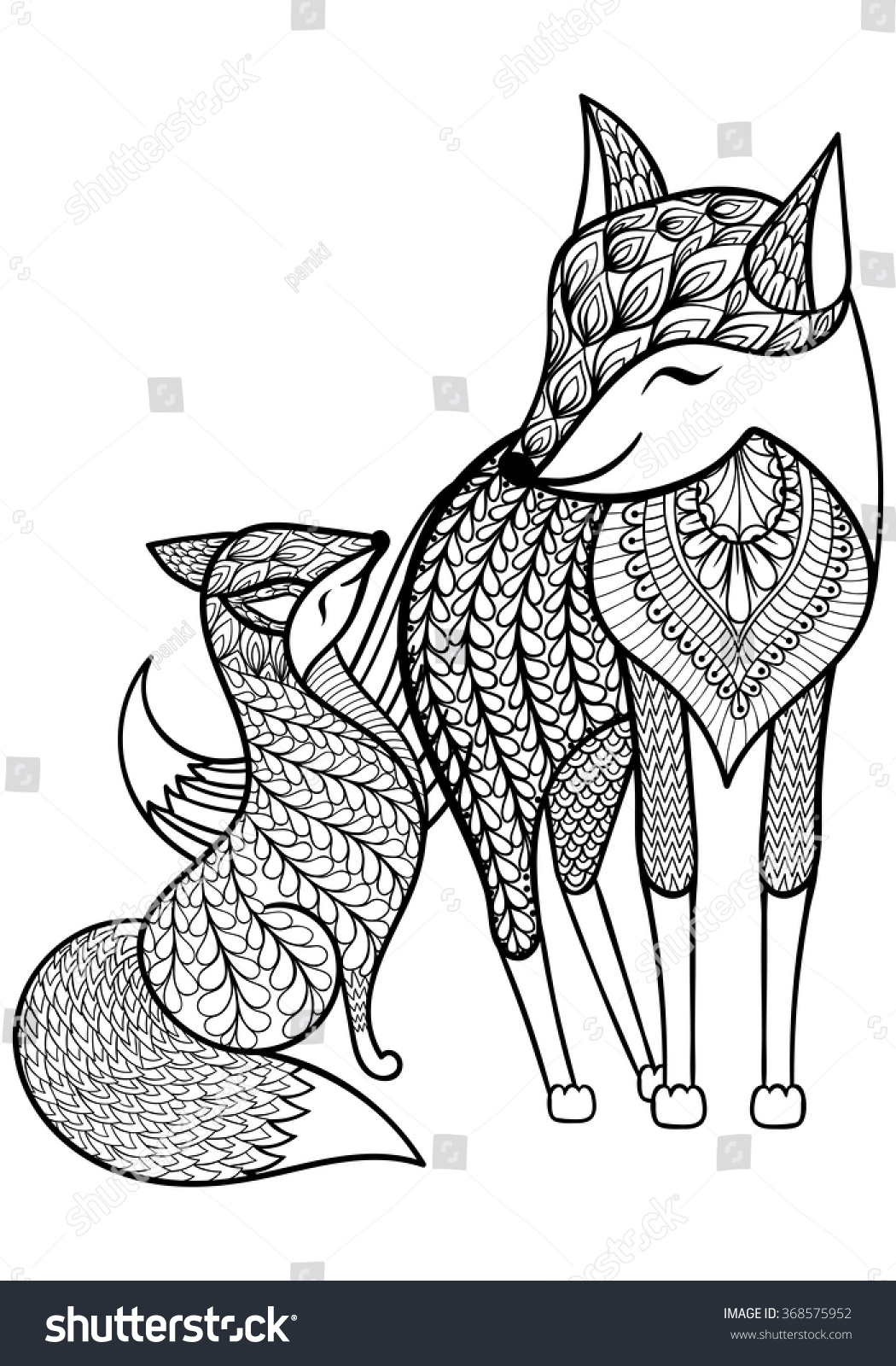 Hand Drawn Fox With Young Child Pattern Stock Photo
