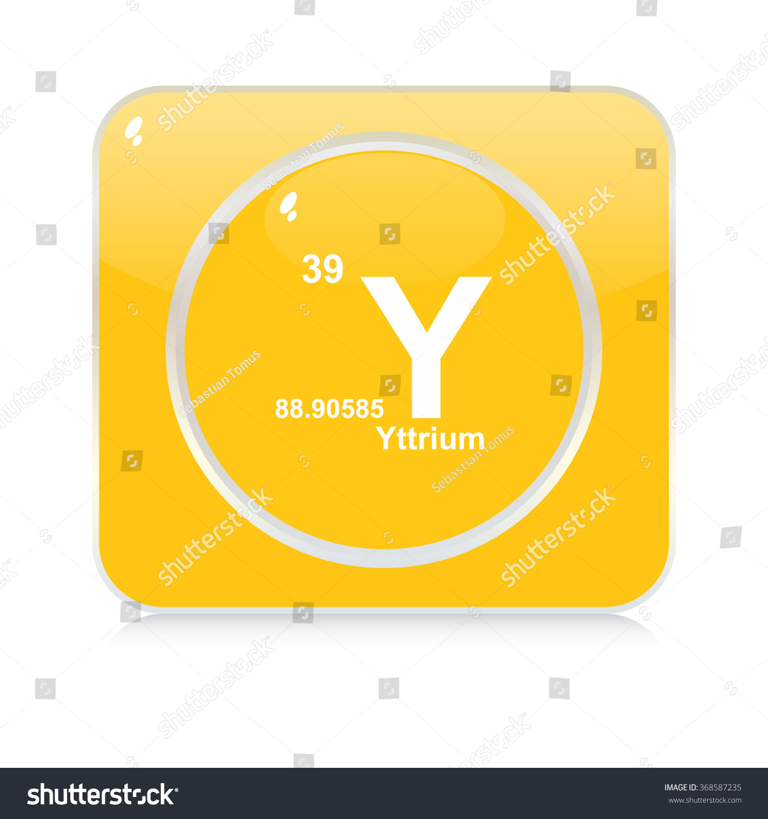 Yttrium Chemical Element Button Stock Vector Royalty Free