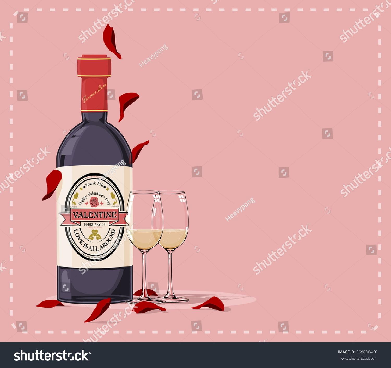 valentine wine on pink background