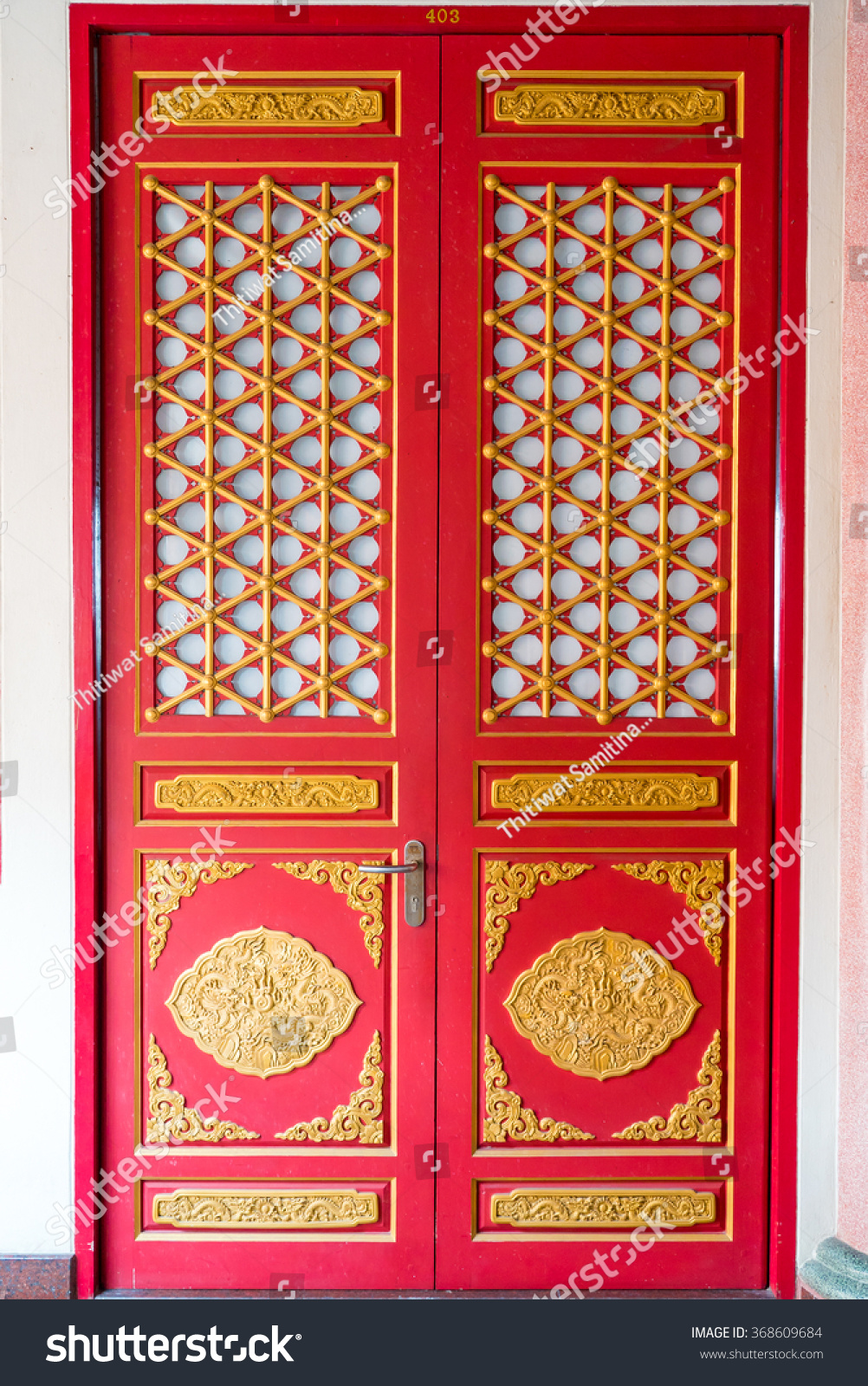 Red Door Chinese Style Temple Stock Photo Edit Now 368609684