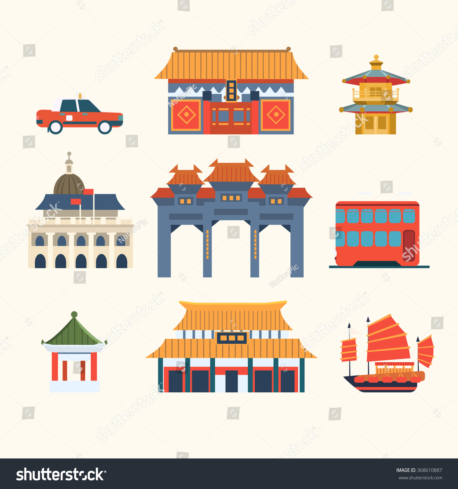 Traditional Chinese Buildings Hong Kong Travel Stock Vector 368610887 Shutt