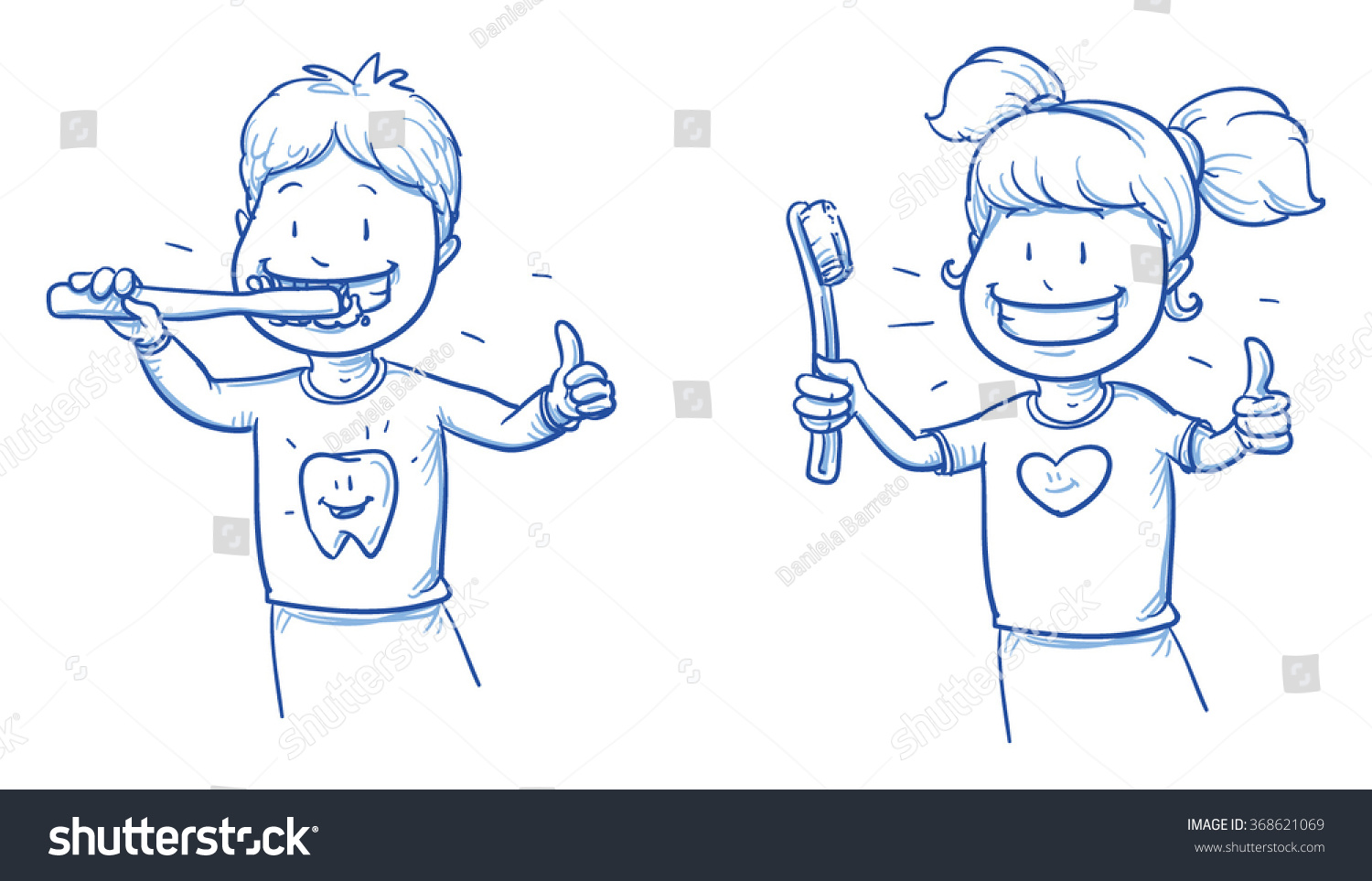 Tooth Line Drawing Tumblr : Two cute cartoon kids brushing their stock vector