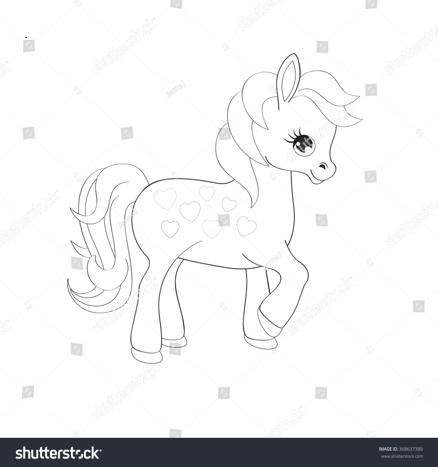 cute pony coloring page stock vector 368637386 shutterstock