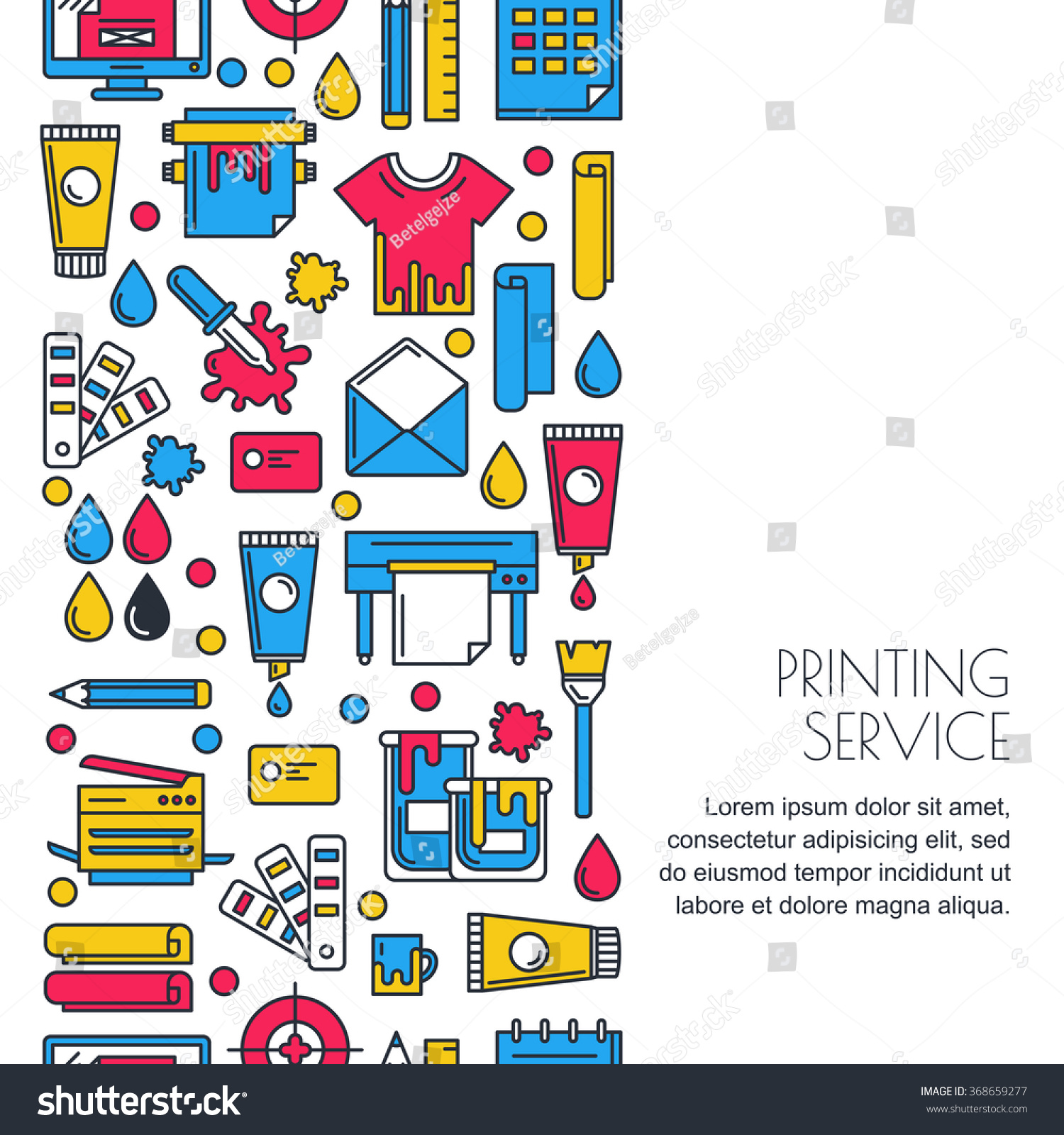 Vector Seamless Vertical Background With Flat Printing Icons In Cmyk Colors Printer Plotter