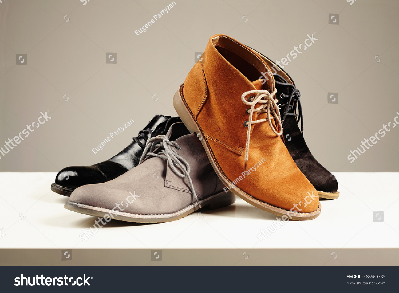 a lot of men's shoes.men fashion still life.boots #368660738