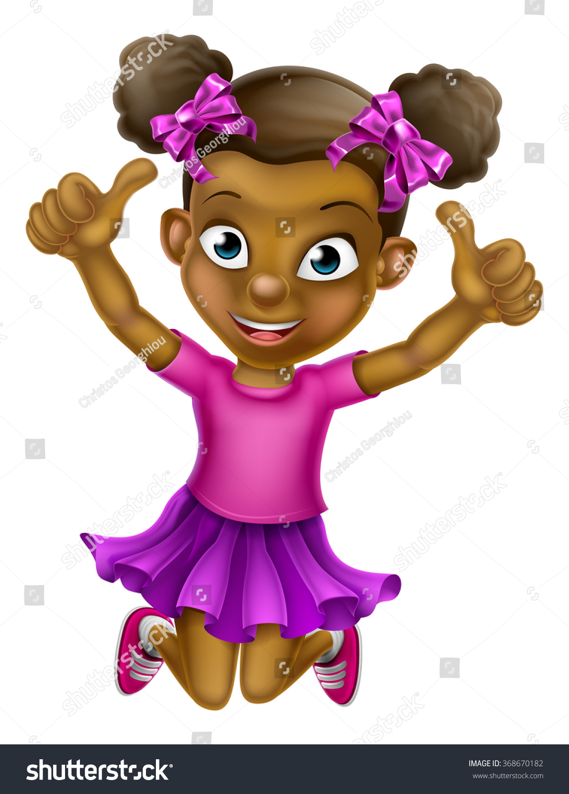Happy Cartoon Young Black Girl Jumping Stock Vector ...