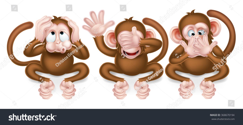 Three Wise Monkeys Hear No Evil Stock Vector Royalty Free 368670194