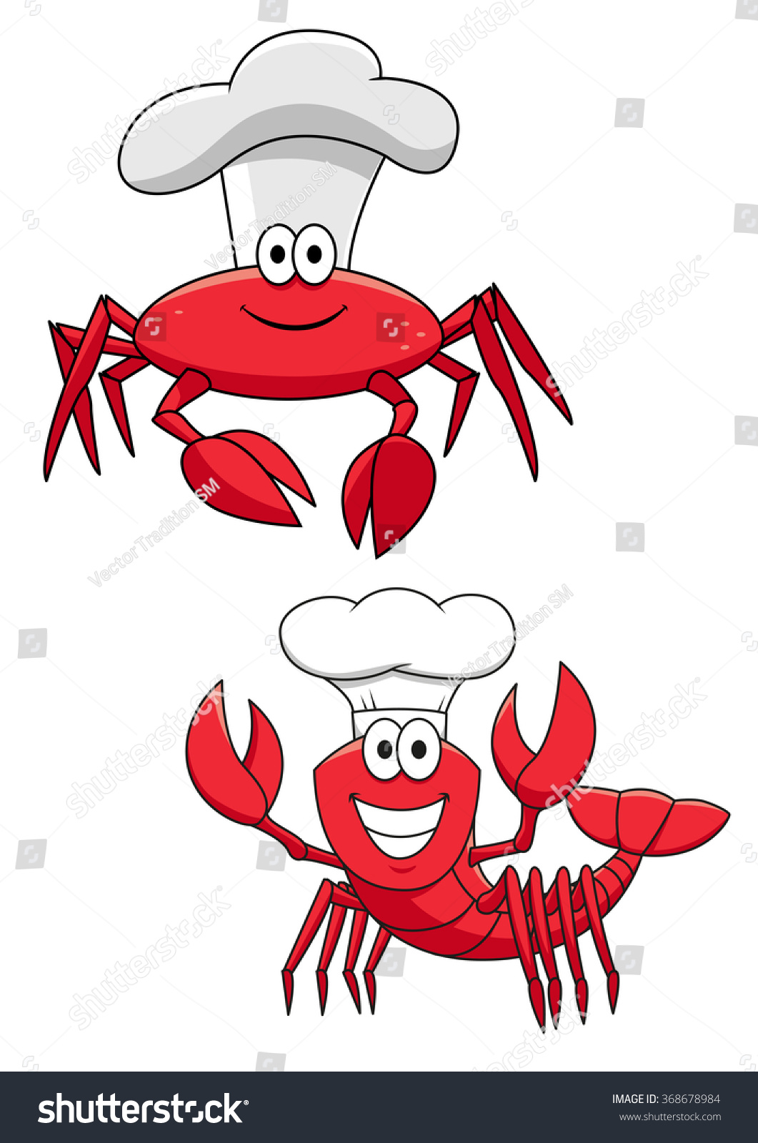 Cartoon Funny Crustacean Chefs Characters Red Stock Vector ...