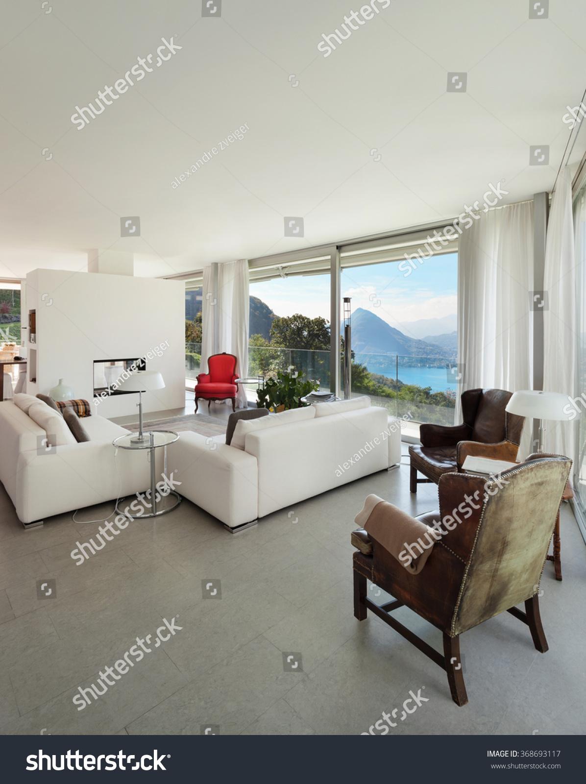 Interior Modern House Comfortable Living Room Stock Photo