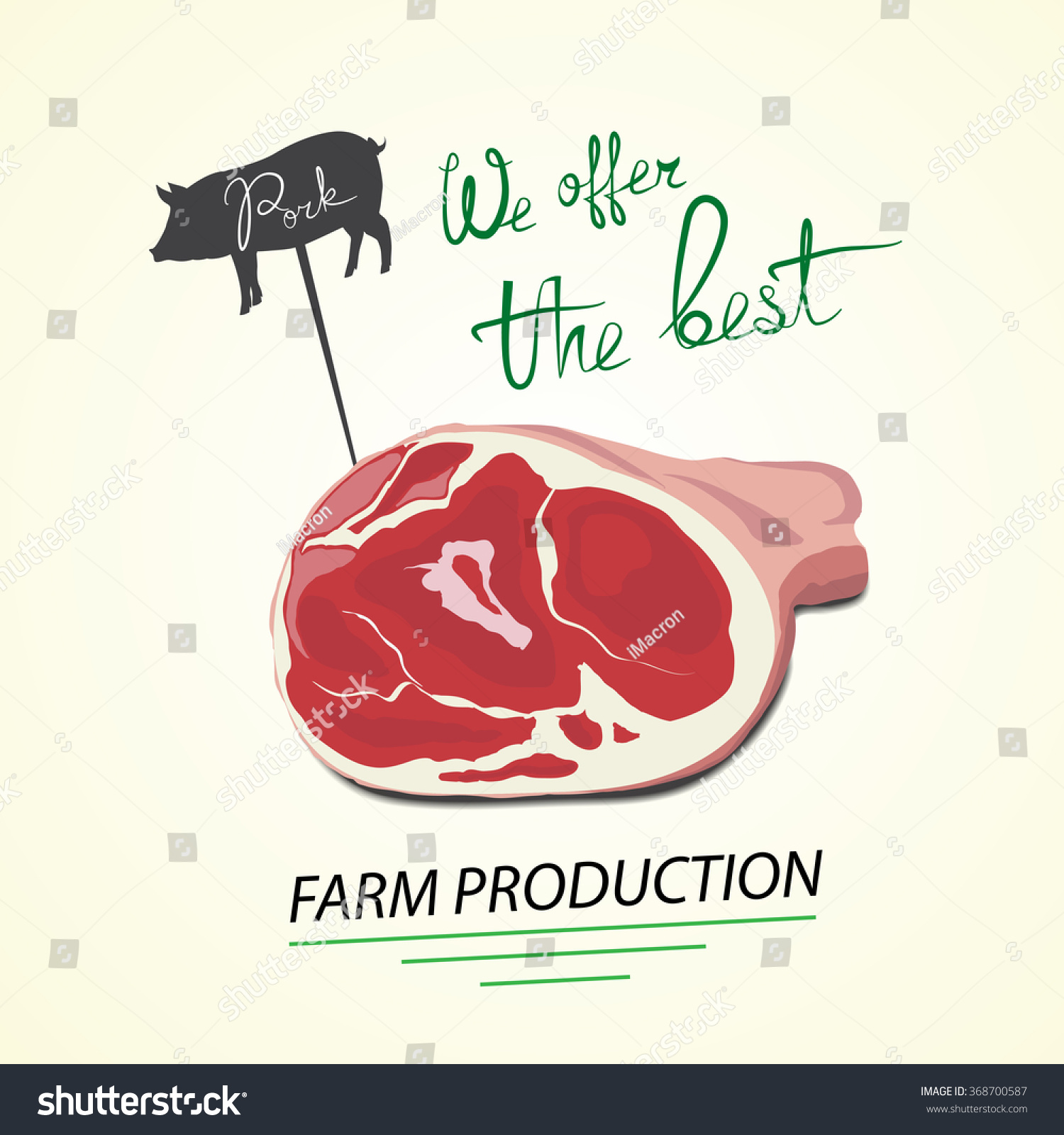 Illustration Of Pig. Pork Farm Production, Vector. Can Be Used In ...