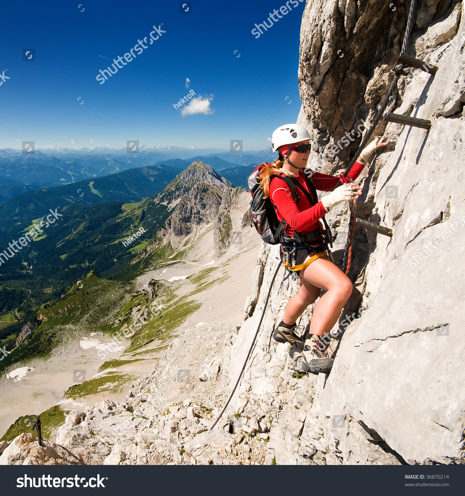 Girl Climbing Mountains Stock Photo 36870214