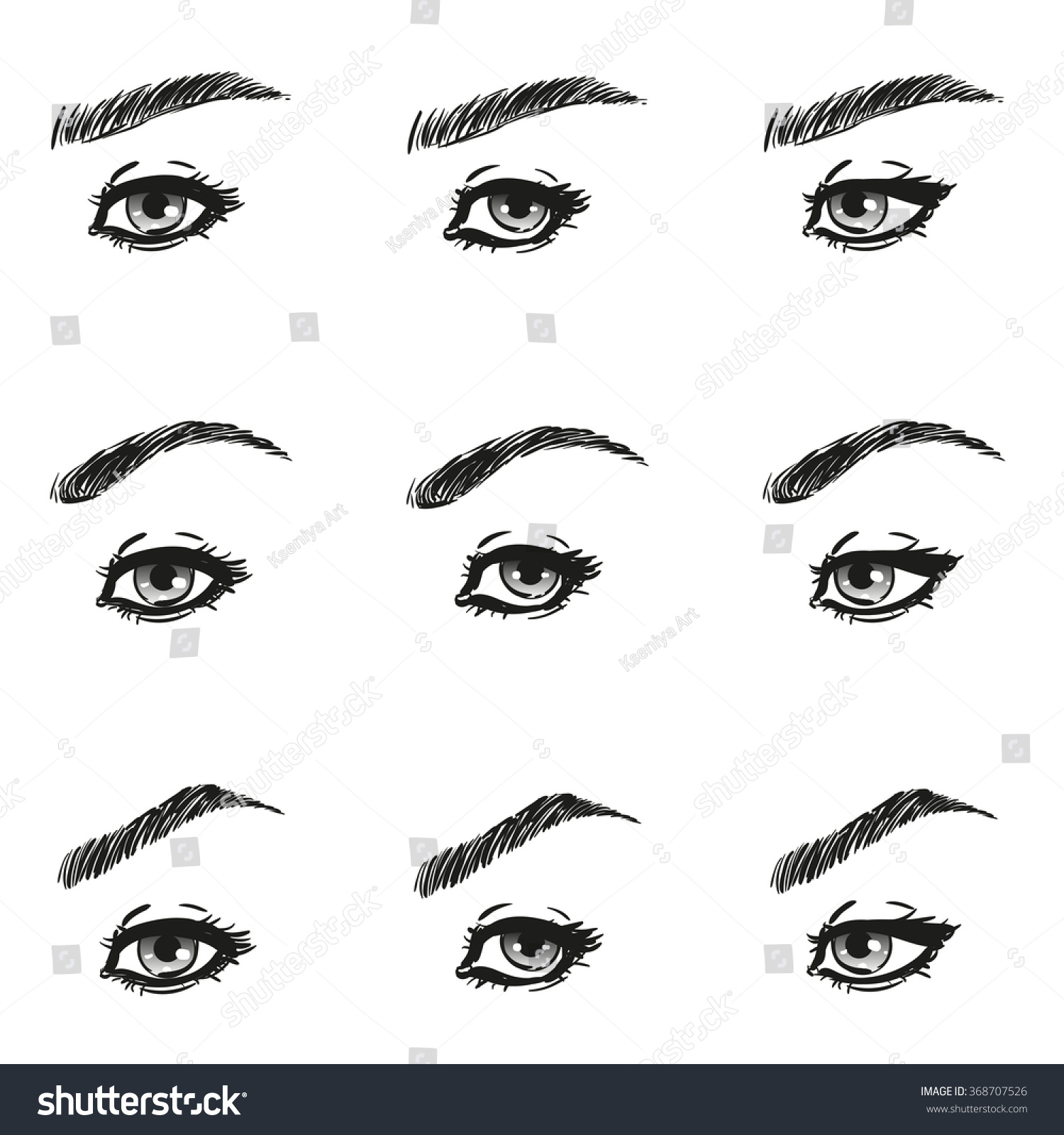 Icons set female eye long eyelashes stock photo photo vector icons set female eye with long eyelashes and eyebrows different shapes look just to the left ccuart Gallery