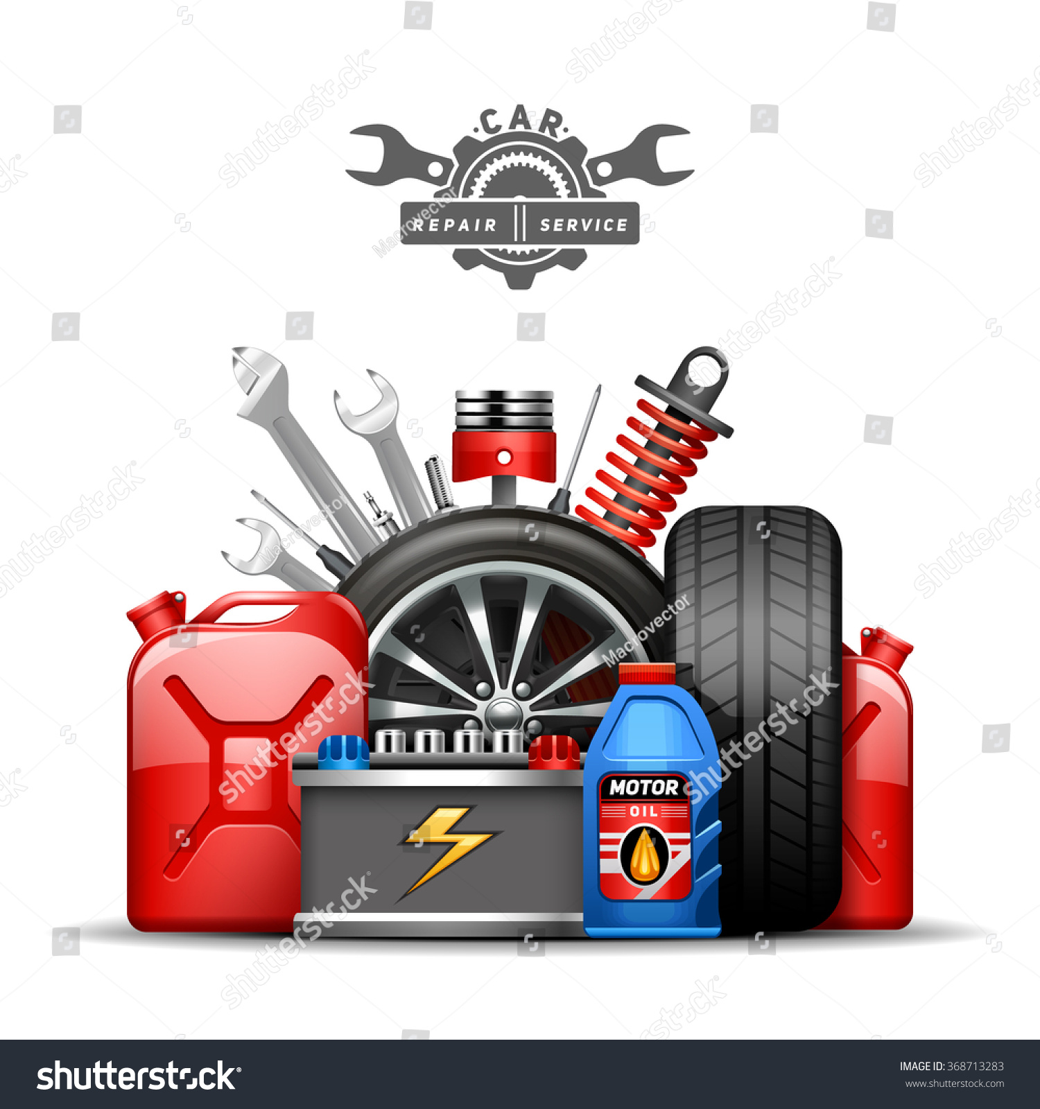 car service center colorful advertisement composition poster with wheels tires oil and gas canister flat abstract