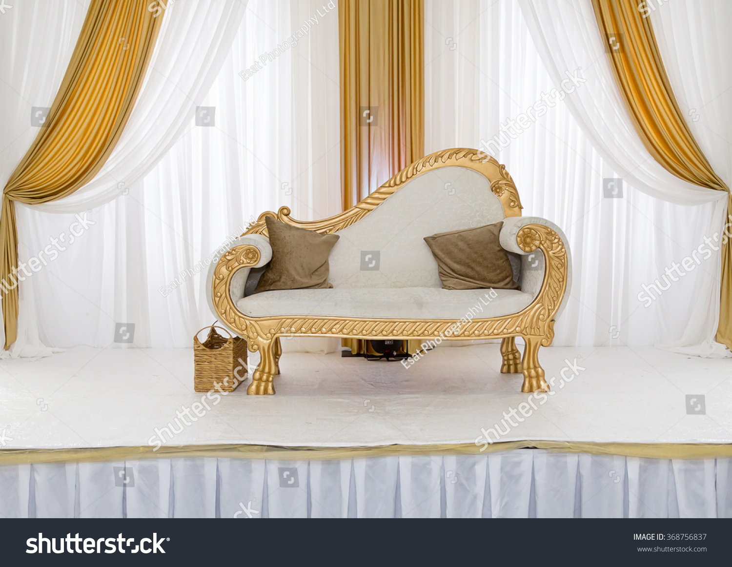 Gold White Themed Wedding Stage Stock Photo (Royalty Free) 368756837 ...