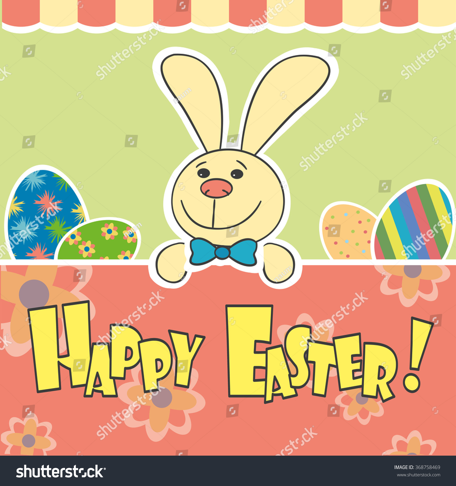 Happy Easter Greeting Card Vector Illustration Stock Vector Royalty