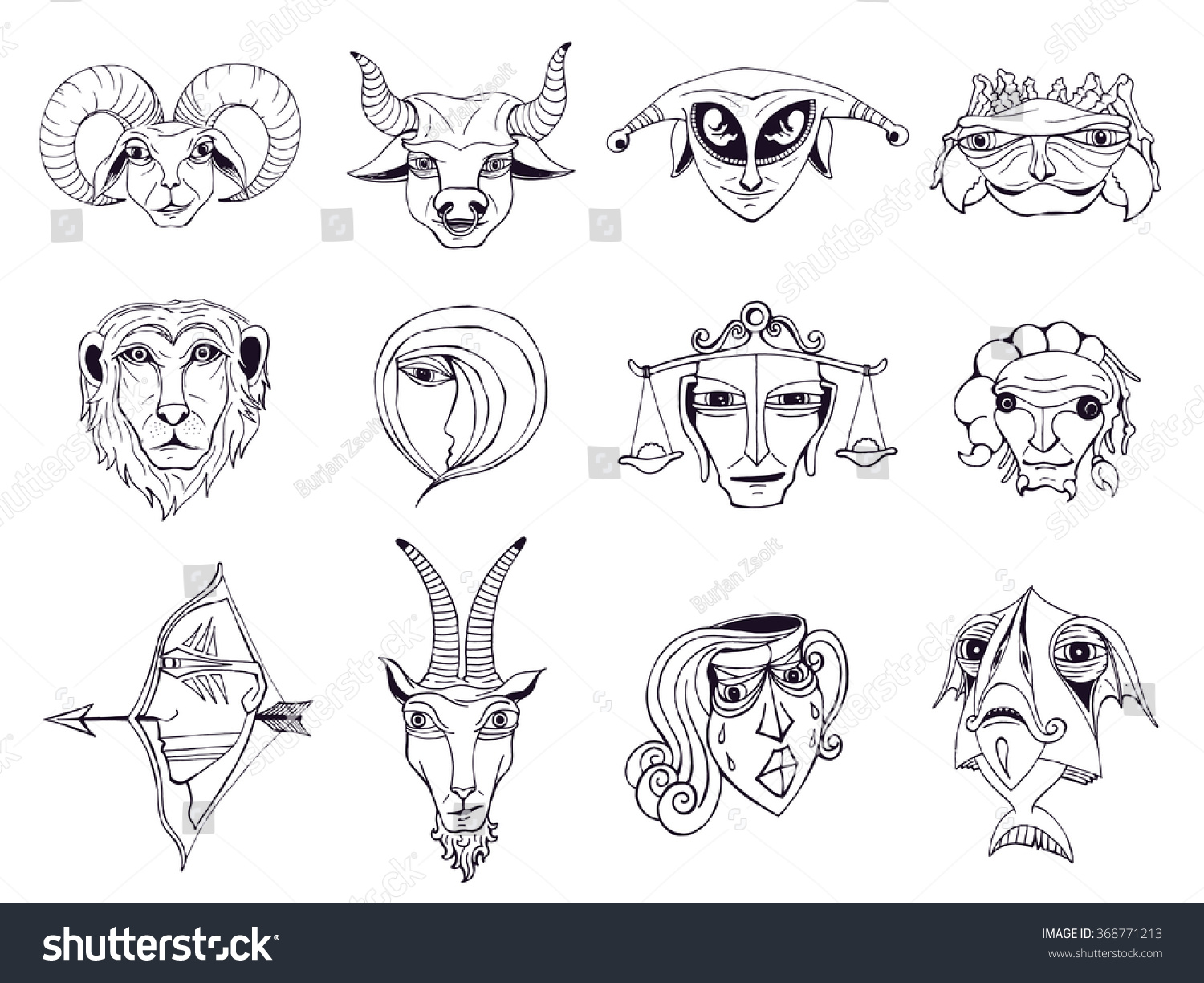 Set hand drawn astrological zodiac symbols stock vector 368771213 set of hand drawn astrological zodiac symbols horoscope signs lion and cancer fish biocorpaavc Images