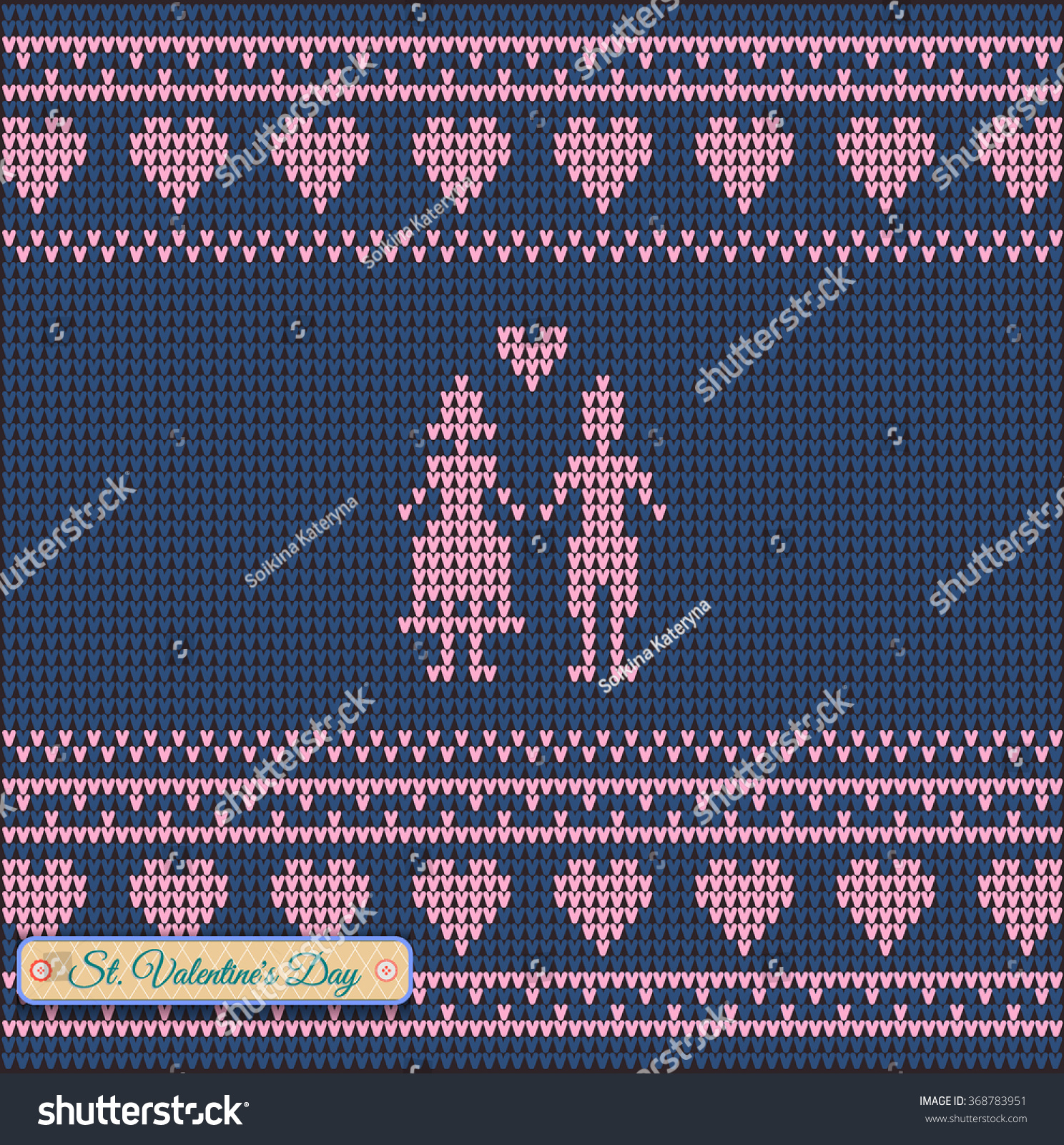 Classic Knitted Pattern Hearts Valentines Day Banner Stock Vector