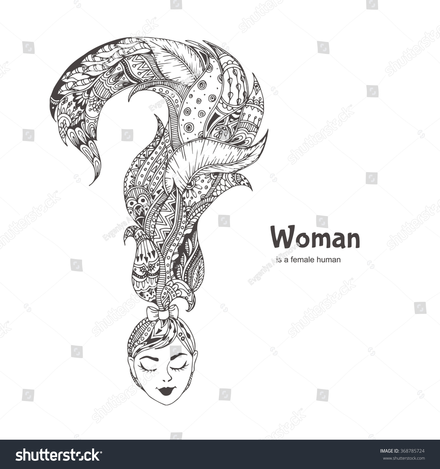 Coloring pages question mark - Hand Drawn Woman S Head And A Question Mark Hair With Ethnic Doodle