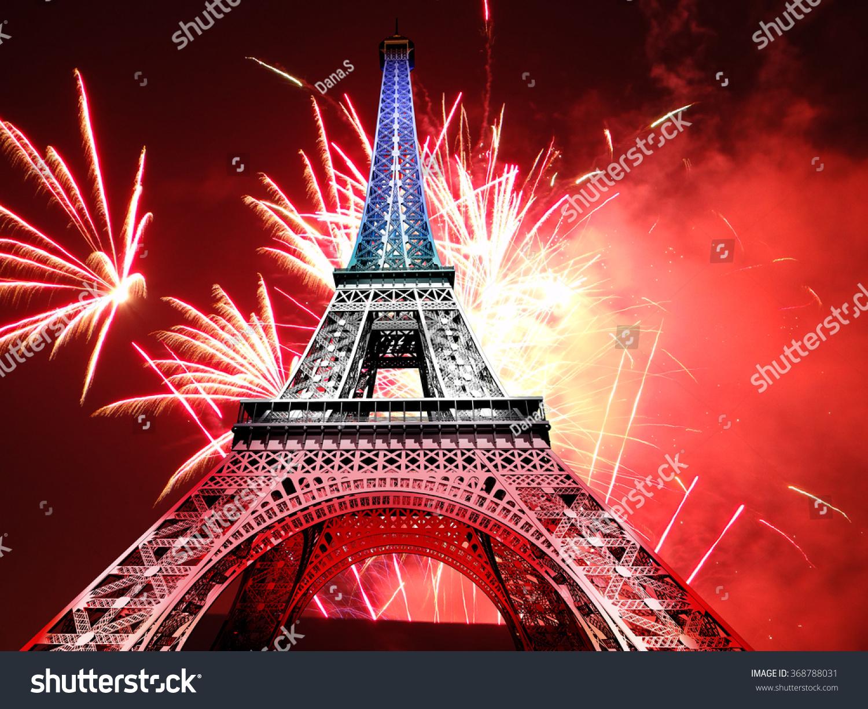 fireworks light eiffel tower paris july stock illustration 368788031