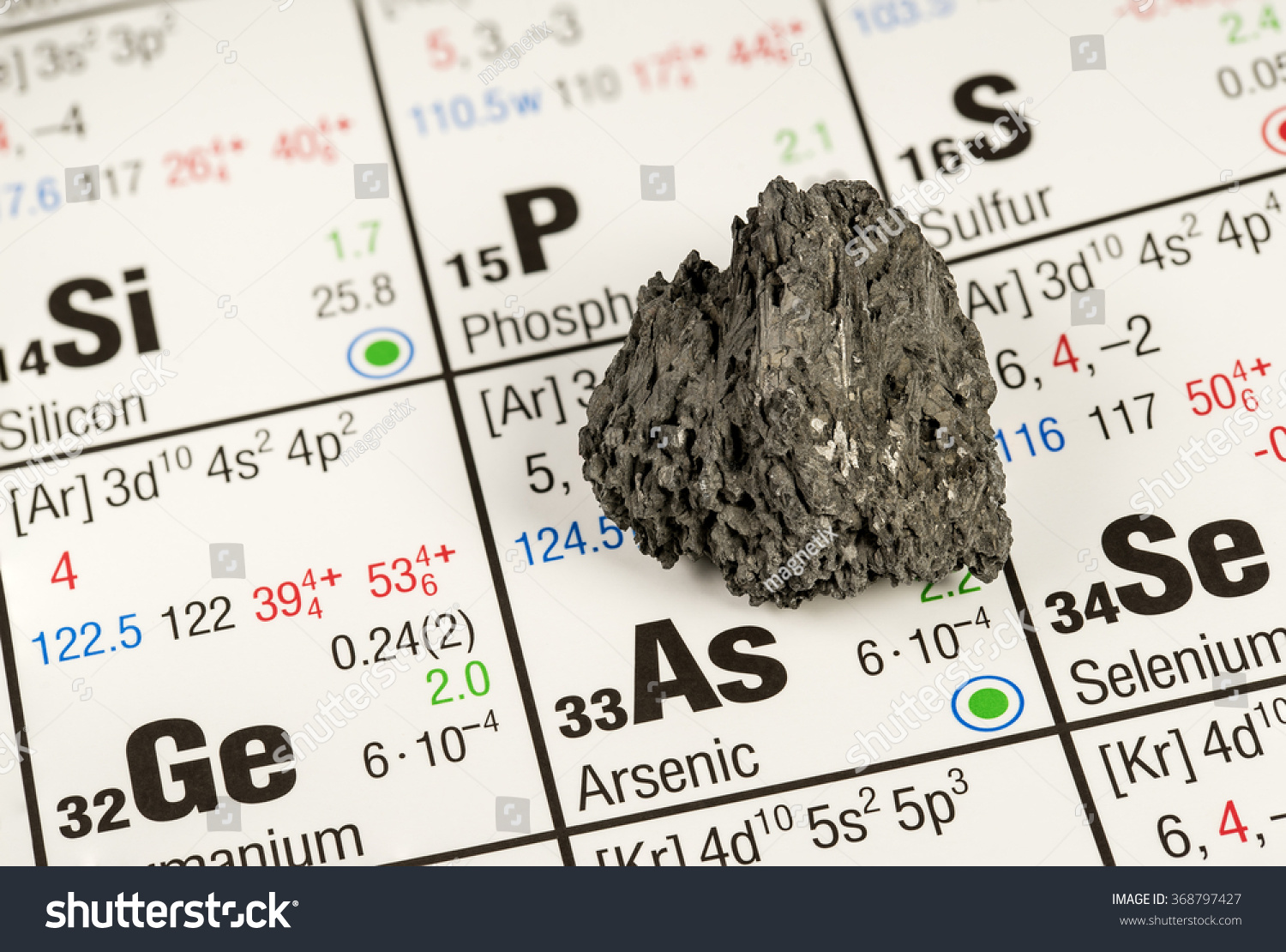 Piece arsenic on periodic table elements stock photo 368797427 piece of arsenic on periodic table of elements biocorpaavc Image collections