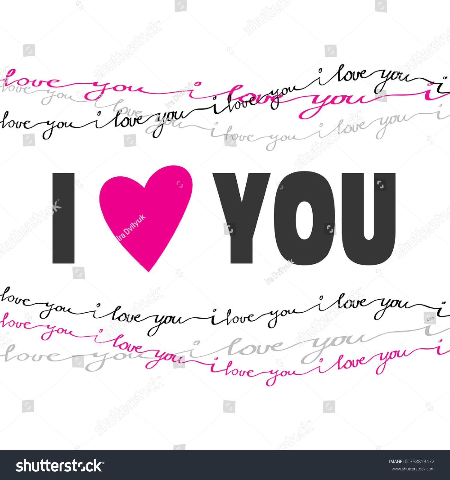 Valentine Love Card Love You Greeting Stock Vector 368813432