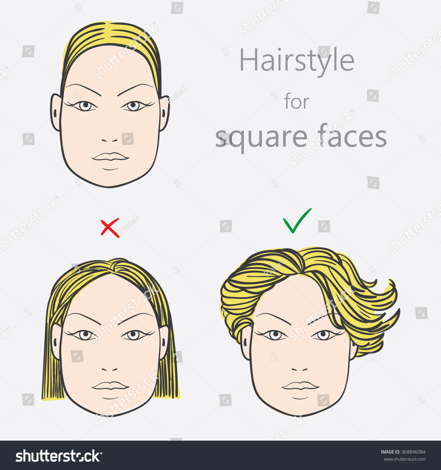 Square Face Shape Hairstyles Face Shape Alternative Hairstyles Square Face Stock Vector