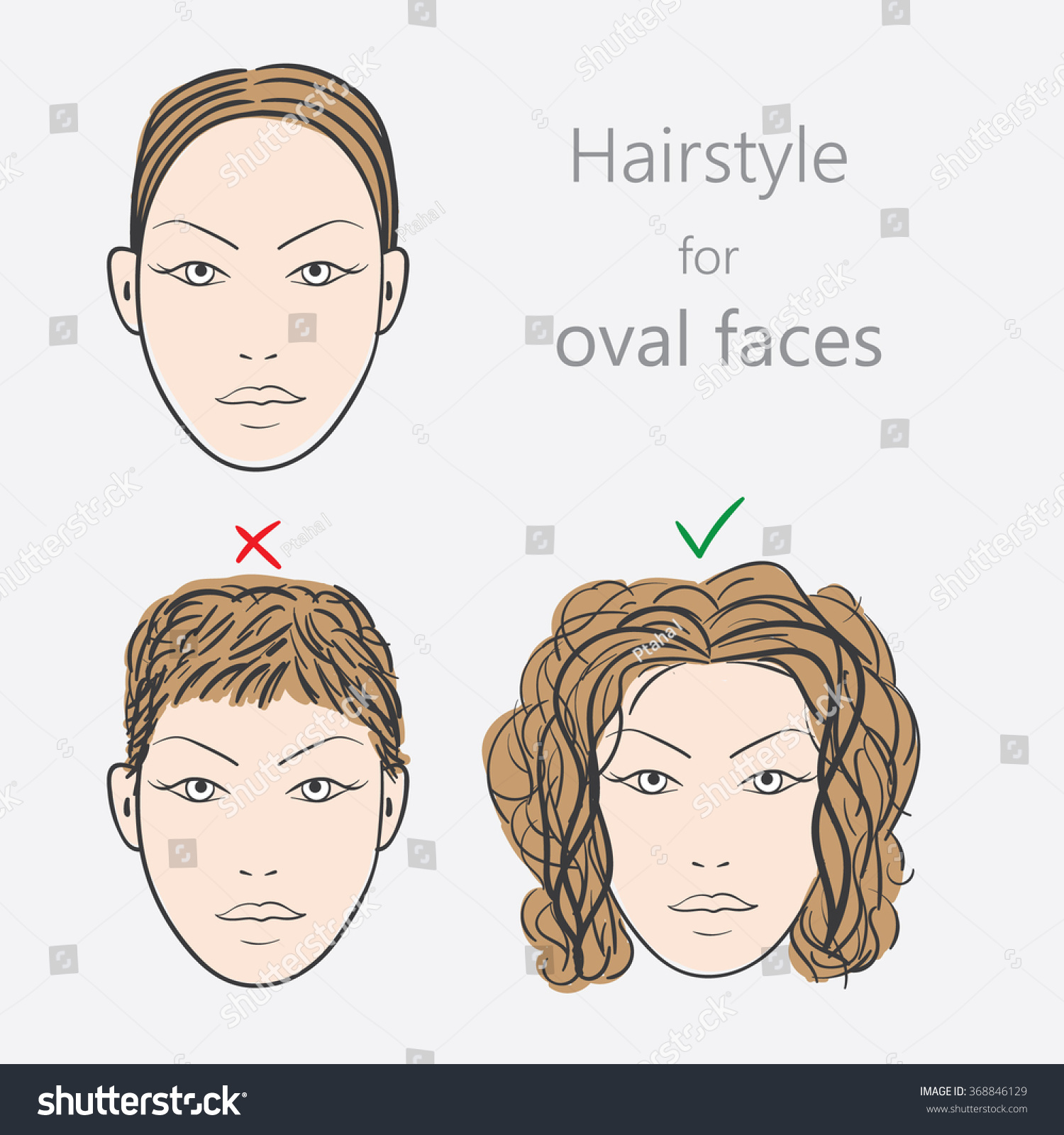 Face Shape Alternative Hairstyles Oval Face Stock Vector 368846129 ...