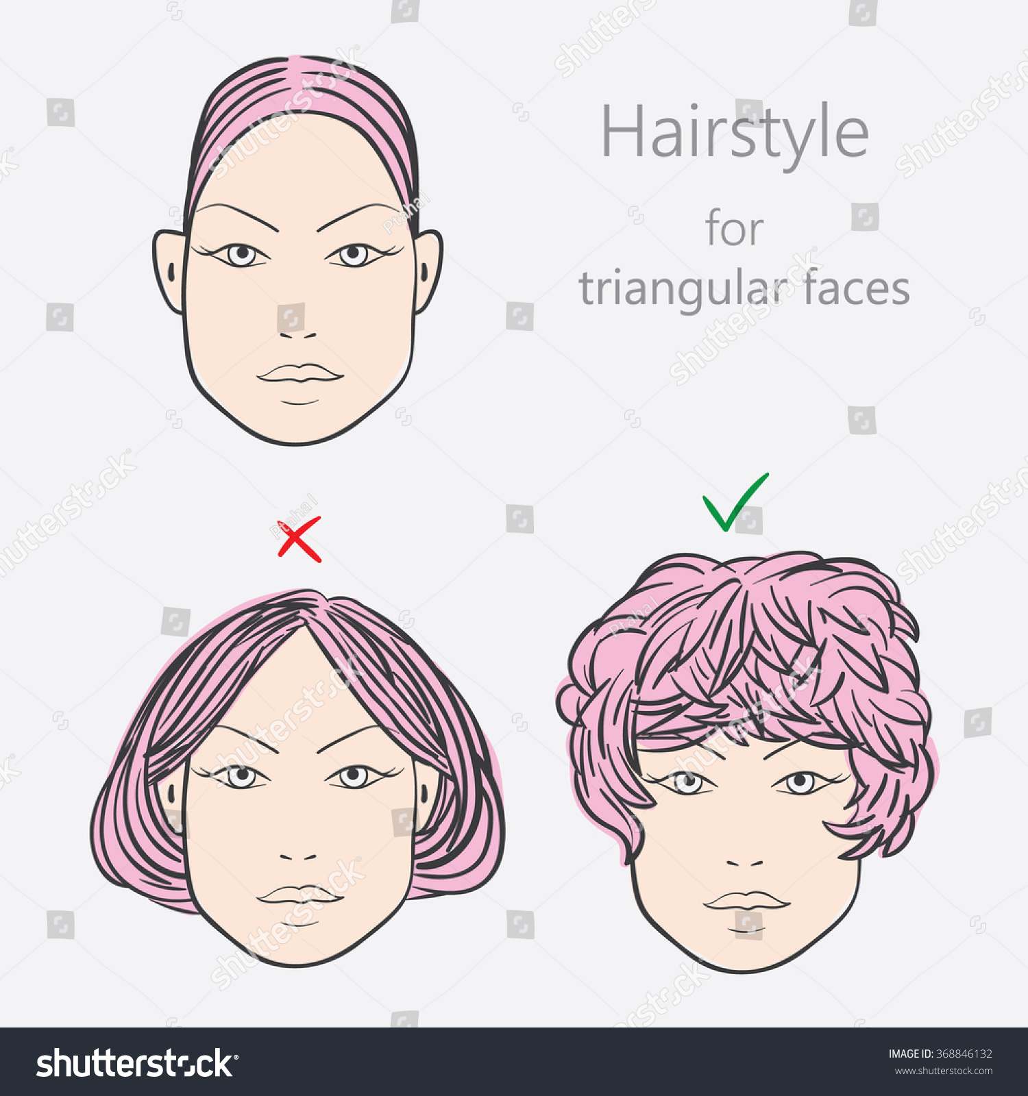 Face Shape Alternative Hairstyles Triangular Face Stock Vector