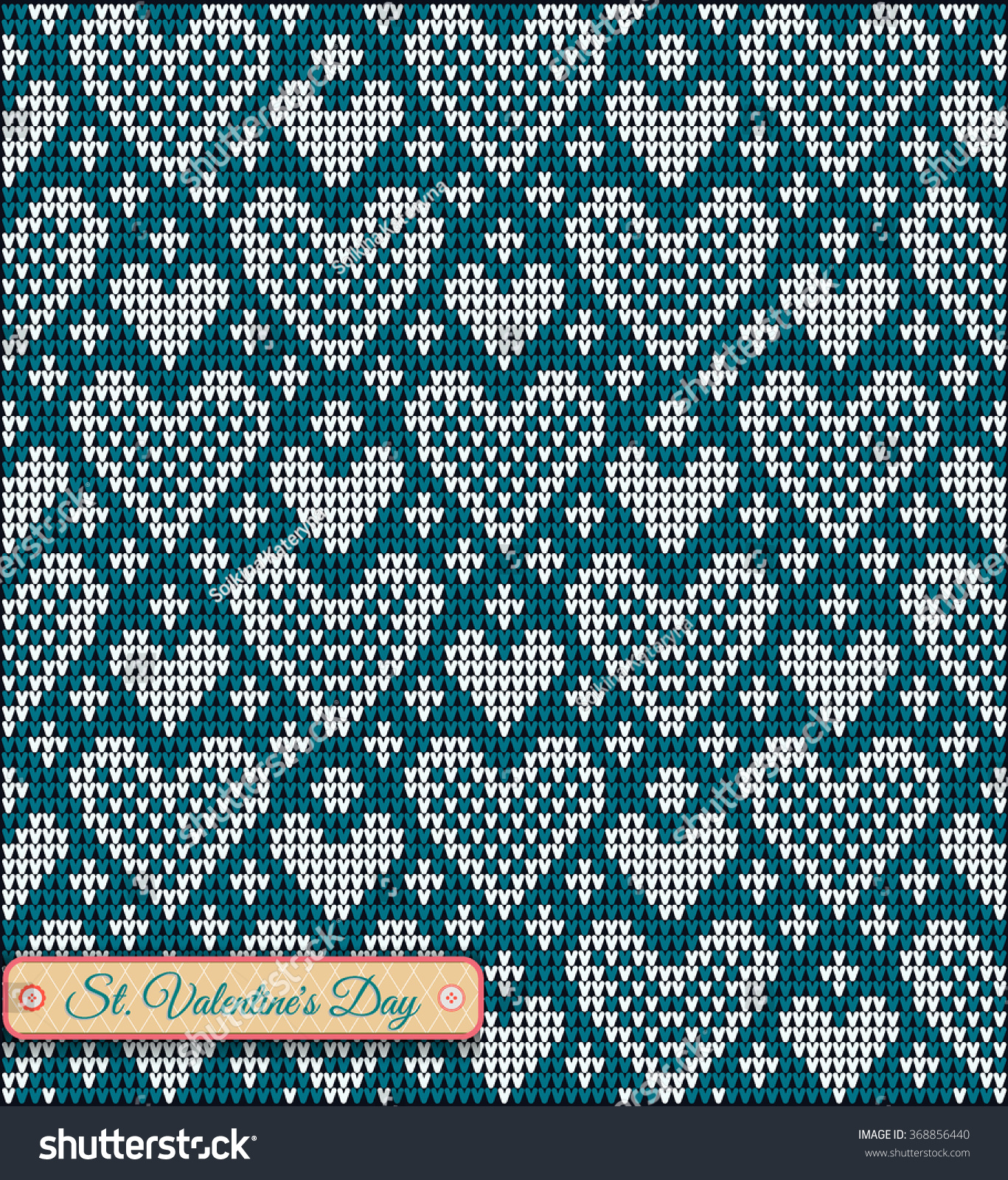 Classic Knitted Pattern Hearts Valentines Day Stock Vector 368856440 ...