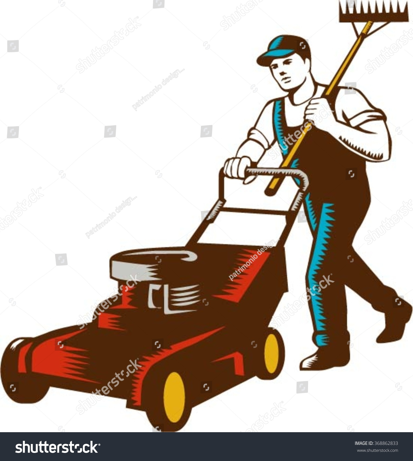 stock vector woodcut style illustration of male gardener with lawn mower mowing and holding rake on shoulder set