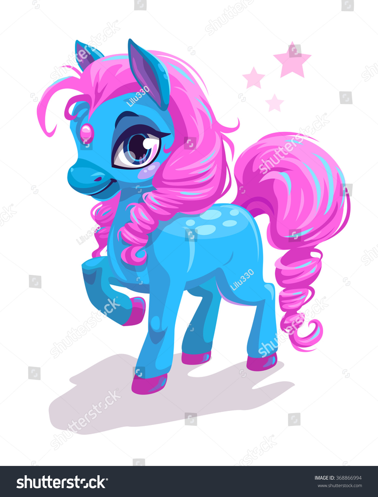 Cute Cartoon Little Blue Horse Pink Stock Vector Royalty Free 368866994
