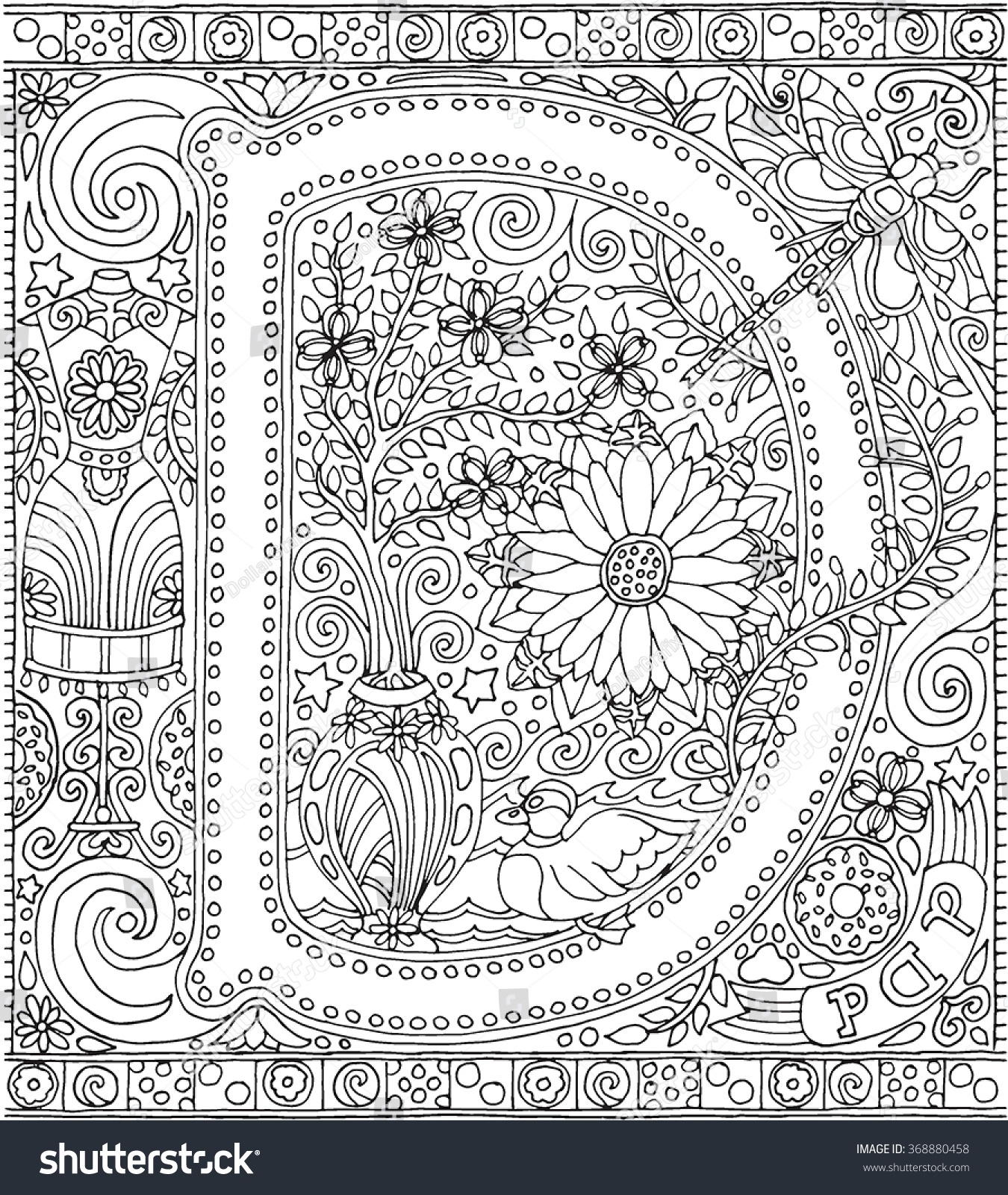 Free coloring pages for relaxation - Adult Coloring Book Art Alphabet Letter D Zen Relaxation