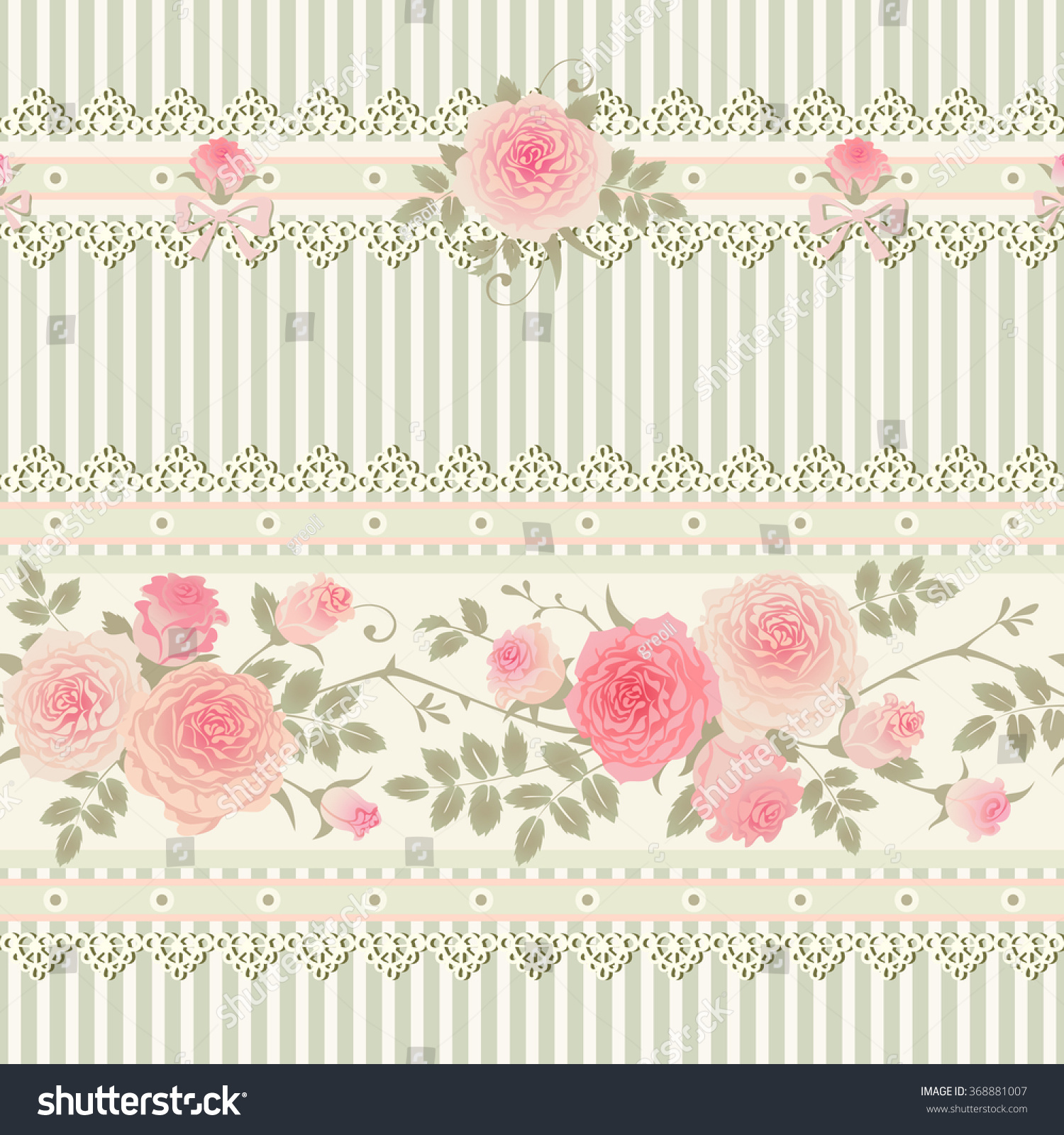 Seamless Floral Background Shabby Chic Style Striped Pattern With Laces Bows And Pink Roses