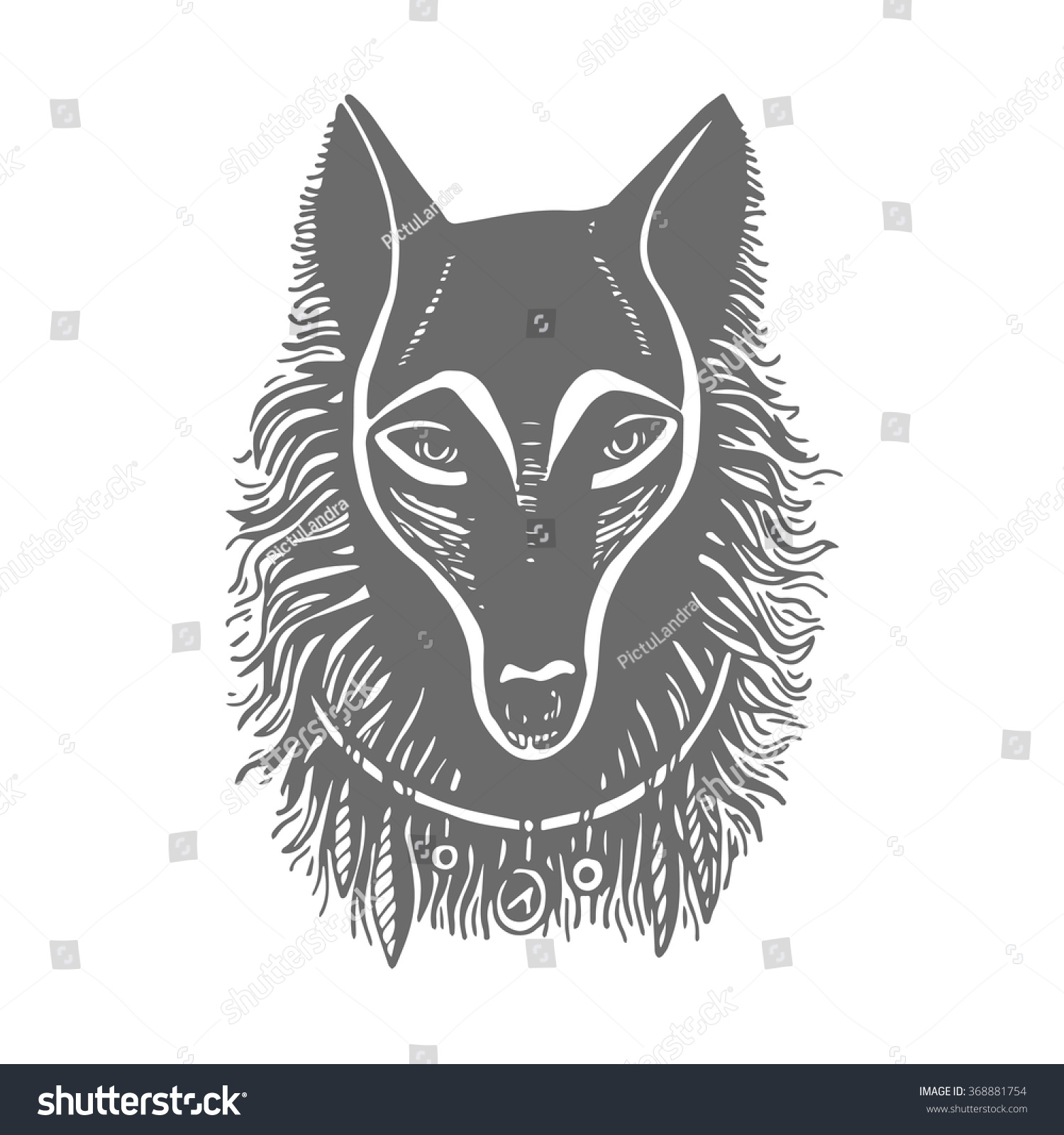 Line Drawing Wolf Face : Hand drawing ink black white wolf stock vector