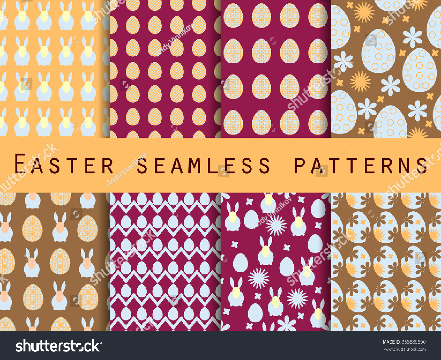 Easter Set Seamless Patterns Easter Bunny Stock Vector
