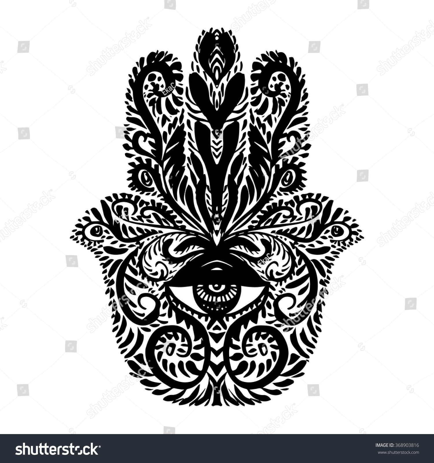 Hamsa Hand Palm Mary Fatima Miriam Stock Vector Royalty Free
