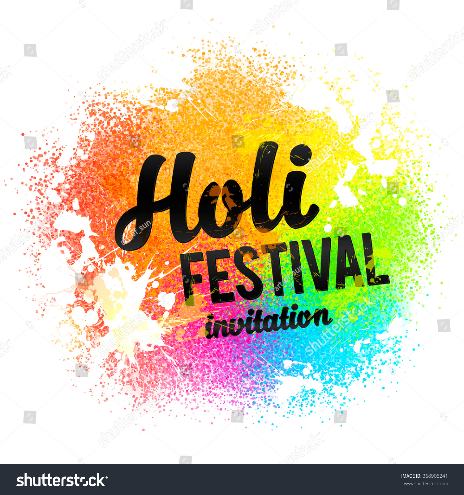 Holi Festival Invitation Vector Black Sign Stock Photo (Photo ...