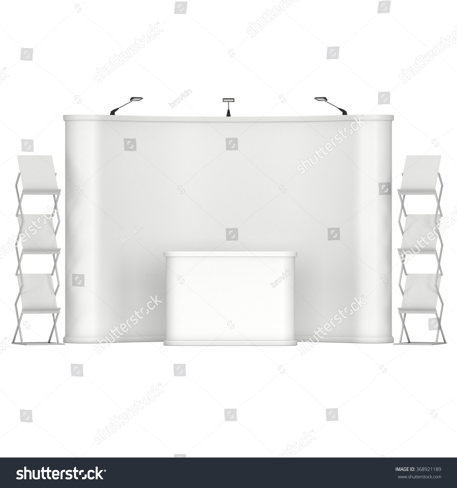 Trade show booth and magazine rack stand for magazines white and blank 3D render isolated on white background High Resolution Ad template for your design