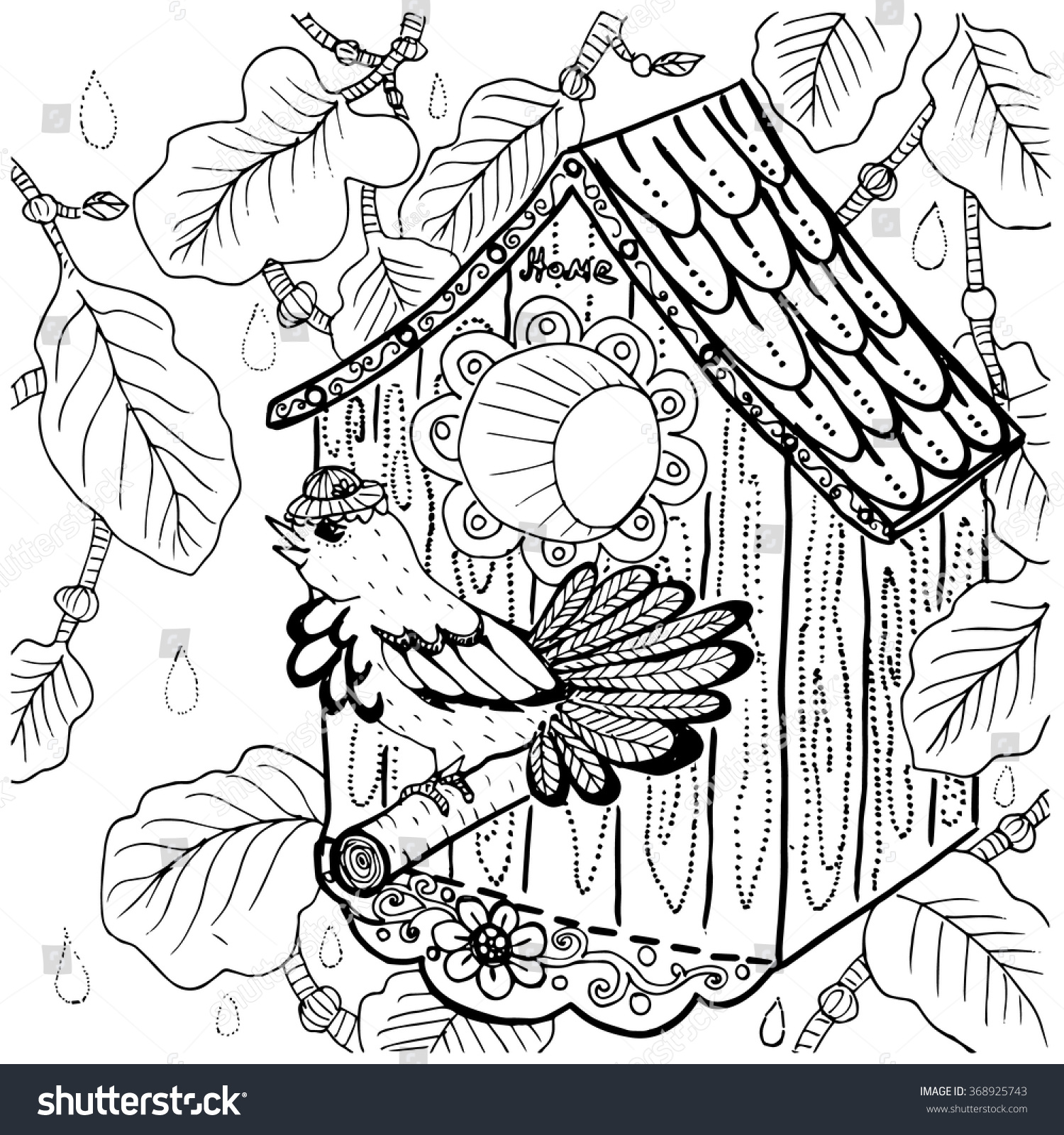 Birdhouse coloring sheet - Hand Drawn Bird In Hat By The Bird House Home Sweet Home Concept Illustration