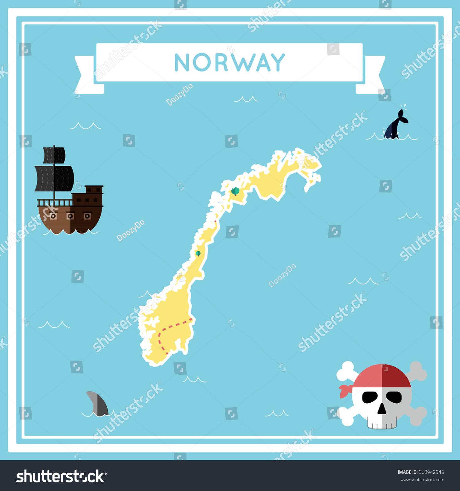 Norway Flat Treasure Map Colorful Cartoon Stock Vector - Norway map cartoon