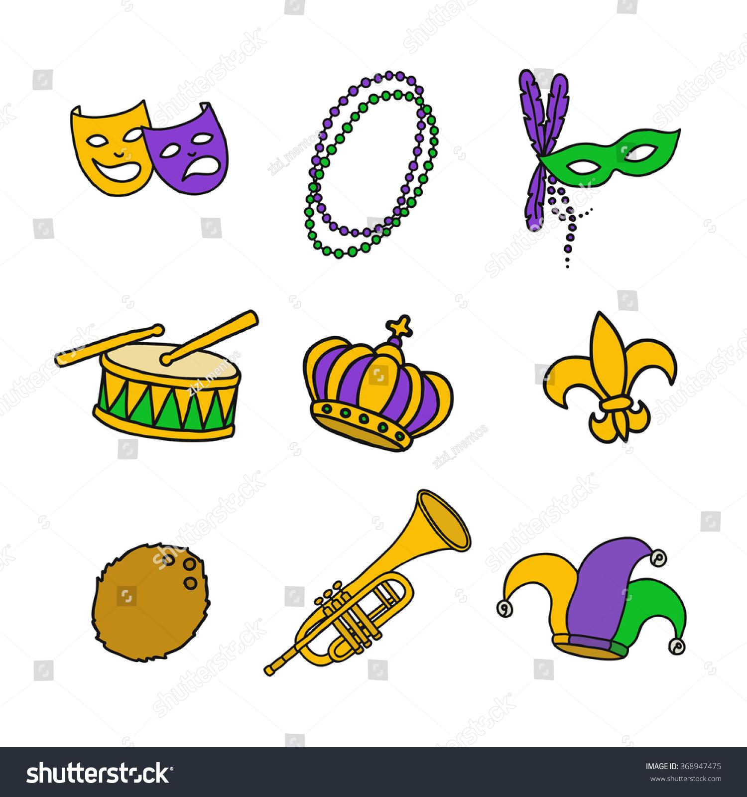 Doodle Icon Mardi Gras Traditional Symbols Stock Vector Royalty